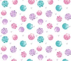 Seashell Design Seashells Fabric Girls Mermaid Sea Shell Design Pink Turquoise