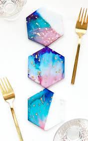 galaxy color blocked marble coasters