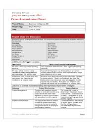 Typical Lessons Learned Template Report Lessons Learnt Report ...