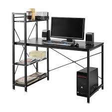 home office desk with storage. 4 Tier Shelving Computer Desk Student PC Workstation Laptop Table Home Office Desks With Storage Shelves Black For Study/Bedroom/Living Room/ Office: F
