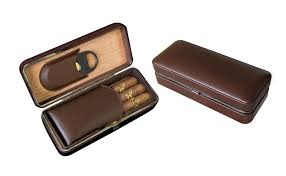 3 cigar folding leather travel case w cutter brown