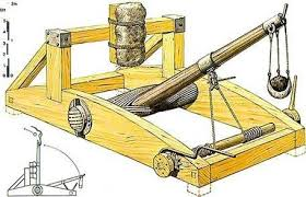 torsion catapult. \u201ccatapult\u201d itself means shield-piercer; the things were originally designed to project darts of a size that no bow could shoot, with range torsion catapult