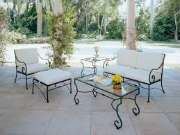 furniture Fascinating White Wrought Iron Patio Table And Chairs