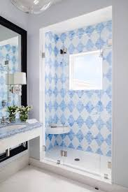 Shower with Blue Tiles