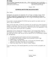 Kindergarten Pre Registration Letter 2012 Ps 150 Queens Pta