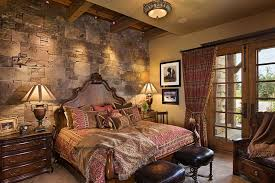Awesome ... Exquisite Rustic Bedroom With Stone Wall Has A Masculine Vibe [Design:  Locati Architects]