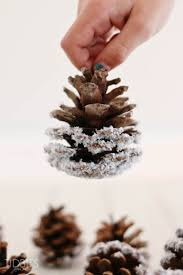 pinecones dipped in white glitter for a snowy pinecone
