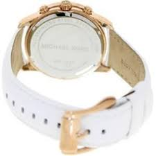 michael kors las mk2289 mercer rose gold white strap chronograph watch