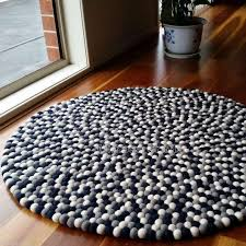 navy grey white felt ball rug by mimosa crafts