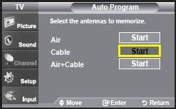 samsung tv antenna. important: if you selected air, the tv will automatically start auto program. skip to step 6. cable or air+cable, continue 5. samsung tv antenna