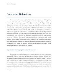 consumer behavior project consumer behaviour