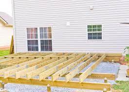 how to build a deck on uneven concrete