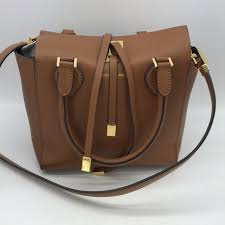 michael kors brown leather miranda tote bag