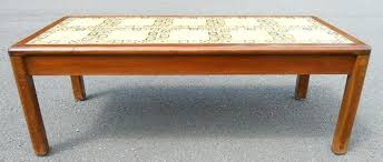 walnut long tile top coffee table by intended for prepare 5 tile top coffee table 70s