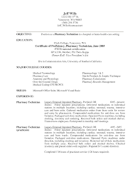 Resume Sample Pharmacy Technician Objective For Resume Resume