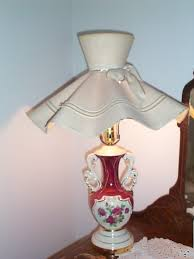 old unique victorian pottery hand painted rose fl electric table lamp w original hat lamp shade item 306 for