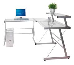 shaped computer desk glass home design ideas with regard to l shape 16