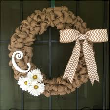 Wooden Initial Door Hanger Surprising 18inch Burlap Wreath With ...