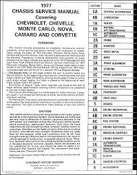 1977 chevy car repair shop manual original camaro chevelle monte table of contents