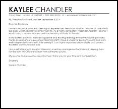 preschool assistant teacher cover letter sample teacher assistant cover letter sample