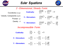 the euler equations of fluid dynamics in two dimensional steady form and incompressible form