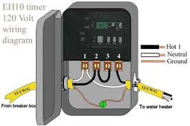 how to wire eh40 water heater timer eh10 wh40 wh21 jumper hot wire from terminal 2 to terminal 3 neutral wires connect to terminal 1 ground wires are kept away from other wiring
