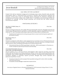 Cook Resume Example Examples Of Resumes