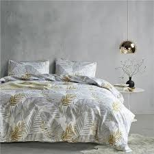 grey gold leaf pattern 2 3pcs usa twin queen king 3 size bedding sets soft