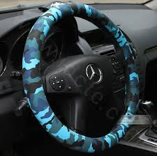 name new man camo pu leather vehicle steering wheel covers 15 inch 38cm blue