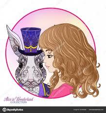 заяц или кролик в шляпе из сказки алиса в Wonderla векторное