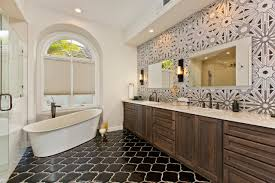 ... Outstanding Master Bathroom Pictures With Black Tiles Floor Decor Also  Wooden Long Vanity Double