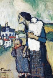pablo picasso the mother leading two children