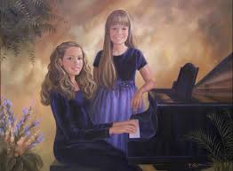 art sisters at the piano by artist patricia lee christensen
