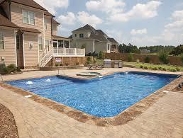 rectangle inground pools with hot tubs. Wonderful Tubs 18u0027 X 43u0027 28u0027 LShape Pool Kit With Full Width In Rectangle Inground Pools With Hot Tubs P