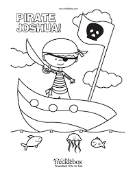 There are funny pirates, pirate flags, pirate ships and even a pirate with an wooden leg. Personalized Pirate Fish Coloring Page Frecklebox Frecklebox