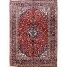 one of a kind boadicea kashan persian hand knotted 9 10 x 13 4 wool red beige area rug by bloomsbury market bloomsbury market