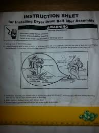 kenmore 80 series dryer belt. instruction sheet for installing dryer drum belt idler assembly. kenmore 80 series