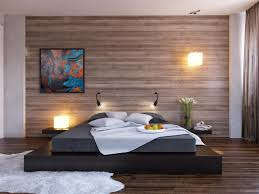 Superior Modern Bedroom Design With Low Profile Bed And Black Wooden Base, Wall  Mounted Lighting And Laminate Wood Flooring On Wall Panels Ideas Photo