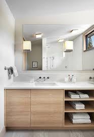 frameless bathroom vanity mirror. Clean Lines Modern Bathroom Vanity With Wood Cabinets And Open Shelves  Large Frameless Mirror European Frameless Bathroom Vanity Mirror