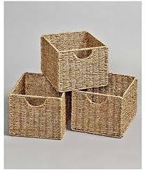wooden multi use storage unit cabinet organizer set of 3 baskets wantitall