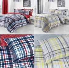 details about check red blue yellow grey stripe duvet cover bedding quilt set with pillowcase