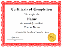 Certificates Of Completion Templates Certificate Of Completion Template