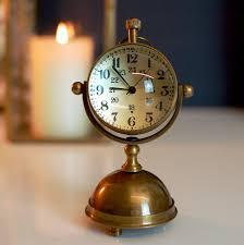 round brass gold desk clock