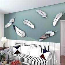 wall art silver removable silver feather mirror wall art stickers decal home kids bedroom bathroom mural decor silver metal wall art uk