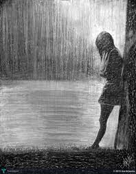 feel the rain black white in painting by ane artworks