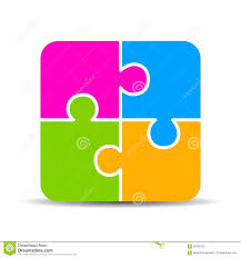 Blank 4 Part Puzzle Chart Stock Vector Illustration Of