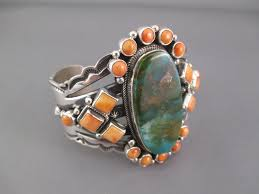 turquoise jewelry spiny oyster s royston turquoise cuff bracelet by aaron toadlena navajo