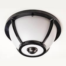 hampton bay 360 degree matte black round integrated led motion sensing outdoor flush mount