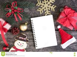 Blank Christmas Background Christmas Background Decorations With Blank Open Notebook Stock