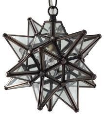 moravian star pendant light clear glass bronze frame 9